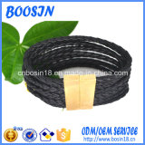 Factory Custom Braded Leather Bangle for Men