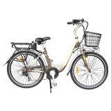 V Brake City Lithium Battery E-Bike with Basket (TDE-038A)