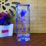 Novelty Birthday Gifts Rotate 3D Laser Crystal Rose Flower Cube