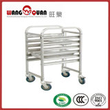 Commercial Stainless Steel Tray Transport Trolley with Six Tiers