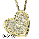 New Design 925 Pure Silver Micro Setting Heart Shape Charm. (B-6196)
