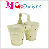 Excellent Colorful Metal Garden Planter Double Flower Pot