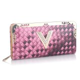 Wholesale Many Stock Weave Fashion Leather Purse and Wallet (XQ0642)