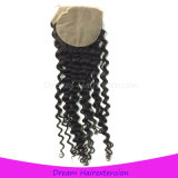 Silkbase Lace Closure Bleached Knots Brazilian Curly Virgin Hair Closure
