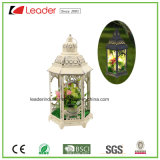 Metal White Candle Lantern with LED Light for Home Decoration