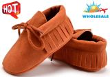 Wholesale Tassel Baby Shoes Soft Soles Lace-UPS Shoes Indoor Infant Shoes with Nubuck Upper