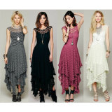 Wholesale Lady Irregular Lace Long Dress (A115)