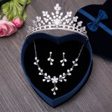 One Set Bridal Tiaras Necklace Set Earring Wedding Crown
