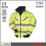 Mens Hi Vis Workwear Detachable Sleeve High Visibility 3 in 1 Bomber Jacket