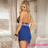 China Wholesale Cheap Halter Paypal Accepted Blue Floral Women Sexy Babydoll