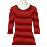 Custom T Shirt Wholesale China Clothes Women Ladies Striped Tops