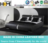 Hot Sale Modern Design Black Guniue Leather Bed (HCC312)
