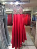 Red Evening Dress, Party Gown, Prom Dress with V Neck