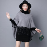 Lady Fashion Viscose Nylon Knitted Leather Fringe Poncho (YKY2066)