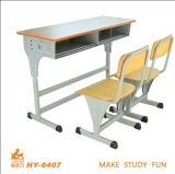 Double School Furniture/Adjustable Student Study Chair and Table