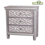 Mirrored Lace 3 Drawer Chest in Natural Timber Finish