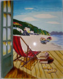 28X35cm Hand Painted Art Ceramic Painting for Wall Decoration