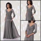 Gray Evening Dress V-Neck Half Sleeves Lace Chiffon Mother Dress Yao10317