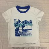 Contrast Collar White Boy T-Shirt Clothes with Printing Sq-6325