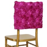 Hot Sale China Supply 3D Rosette Embroidery Wedding  Chavira Chair Cover
