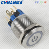 19mm 24VDC 5A Momentary Push Button Switch with White LED