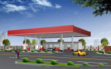 Fast and Easy to Install Steel Space Frame for Gas Station