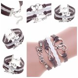New Fashion Jewelry Infinite Double Leather Multilayer Charm Bracelet
