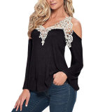 Women′s Crochet Trim Cold-Shoulder Top (T-011)