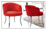 Modern Crystal Buttons Back Red Fabric Steel Legs Dining Arm Chairs