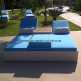 New Design Garden Rattan Outdoor Furniture Double Sun Bed Chaise Lounger (YTF552)