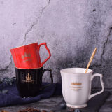 10 Oz Gold Color European Ceramic Coffee Mug Luxury Porcelain Coffee Cup