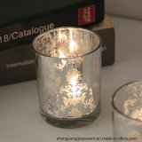 Hot Sell Colorful Electroplating Engraving Glass Candle Holders for Home Decoration