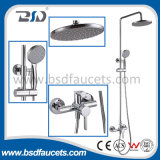 Chrome Bathroom Bath Rainfall Shower Head Brass Shower Set