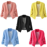 Candy Color Puff Sleeve Buttonless Suit Office Blazers Jacket Coat