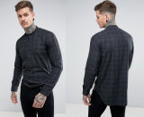Tall Stretch Slim Check Shirt with Grandad Collar in Red