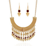 Alloy Jewelry Fashion Europe Exaggerated Statement Tassel Antique Coin Necklace Earrings Jewelry Sets