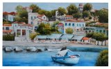 Country Scenery Houses by The River, City Beside The Sea Oil Paintings (LH-064000)