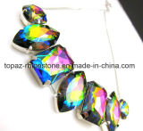 Glass Beads with Claw Sew on Jewelry Rhinestone for Necklace Setting Diamond (SW-oval/rectangle rainbow color)