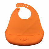 New Product Baby Clothes Roll up Silicone Baby Bib with Embossed Logo