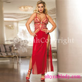 China 2PCS Belle Decolette Love Sexy Gown One Size Red Long Babydoll with PE Bags Packed