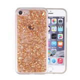 Iyck Luxury Bling Glitter Sparkle [Gold Foil Embedded] Transparent Flexible Soft Rubber Gel TPU Protective Shell Hybrid Bumper Case Cover for iPhone 7