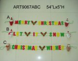 "5""Hx54""L Santa Snowman Reindeer+Greeting Letter Garland-3asst-Christmas Decoration"