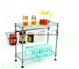 Multi-Functional Chrome Metal Mini Saucing Rack for Home Kitchen