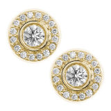 Fine Jewelry Halo 925 Silver Stud Earrings with Gold Plating
