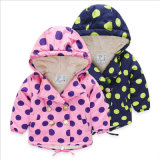 Apparel Girl Children Berber Fleece Coat with Big Polka DOT