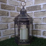 Big Full Hex Gold Finish Lantern