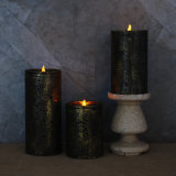 Factory 2017 Gold Sliver Copper Metallic Pillar LED Flameless Candles, Set of Three