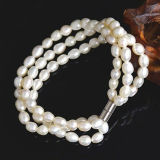 5-6mm 3strands White Rice Freshwater Pearl Bracelet
