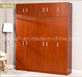 Classic Design Particle Board Teak Color Melamined Wardrobe