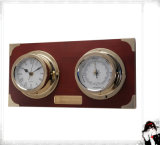 Nautical Clock & Barometer with Solid Wood Plaque
